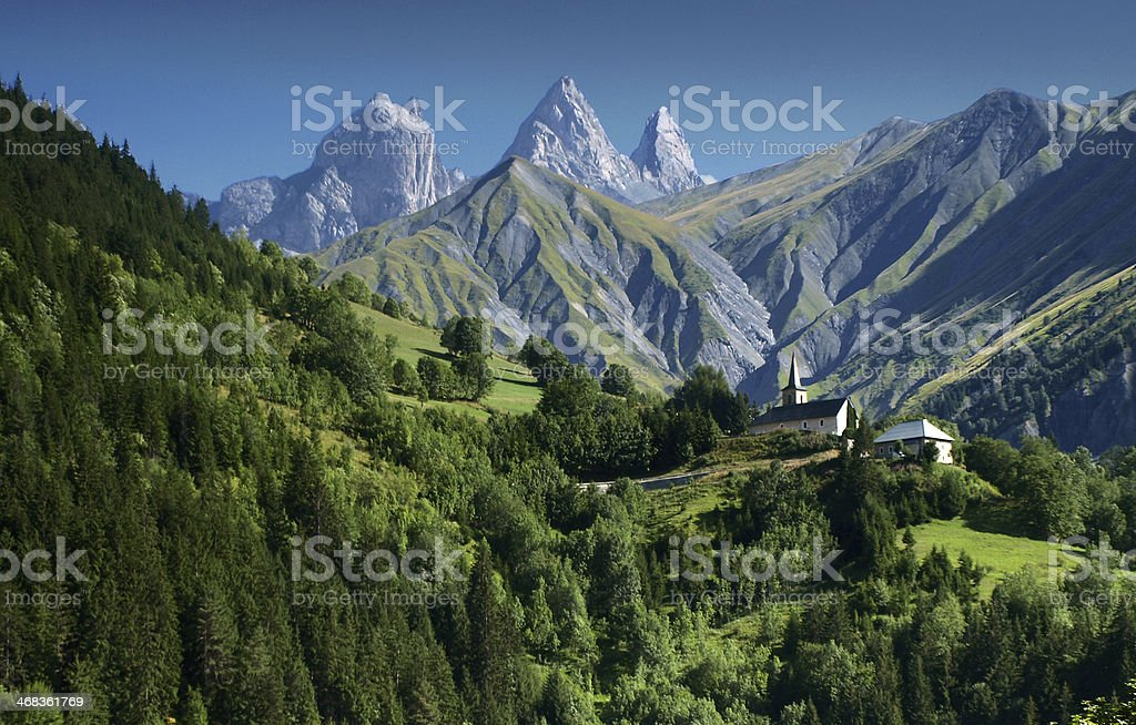 Idyllic from Aiguilles d'Arves, Grandes Rousses, Dauphine Alps, France. stock photo