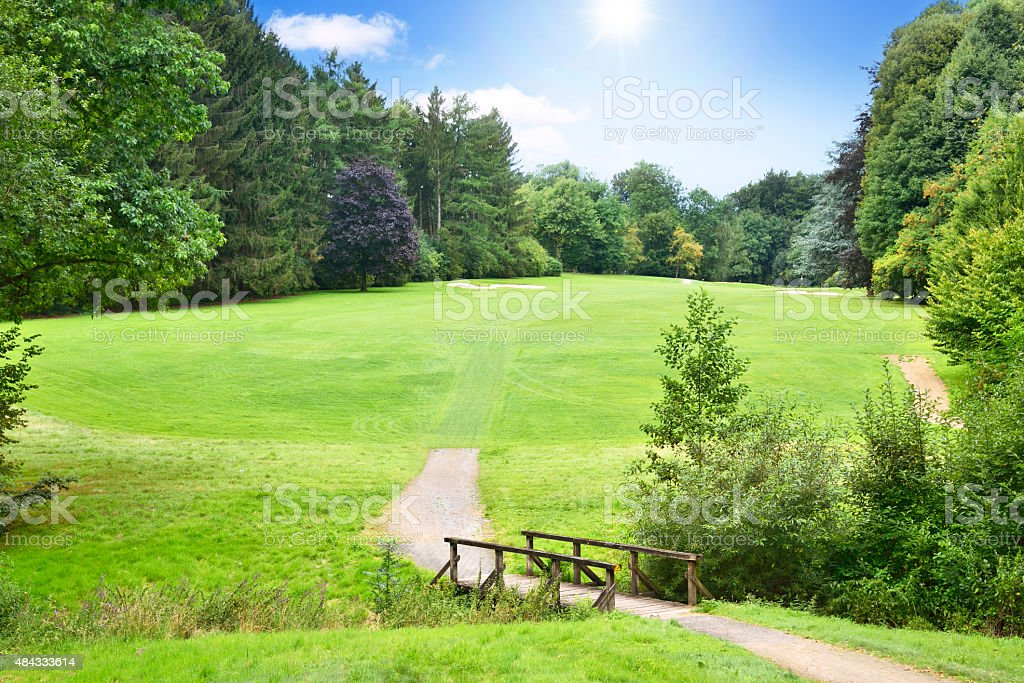 Idyllic golf course stock photo