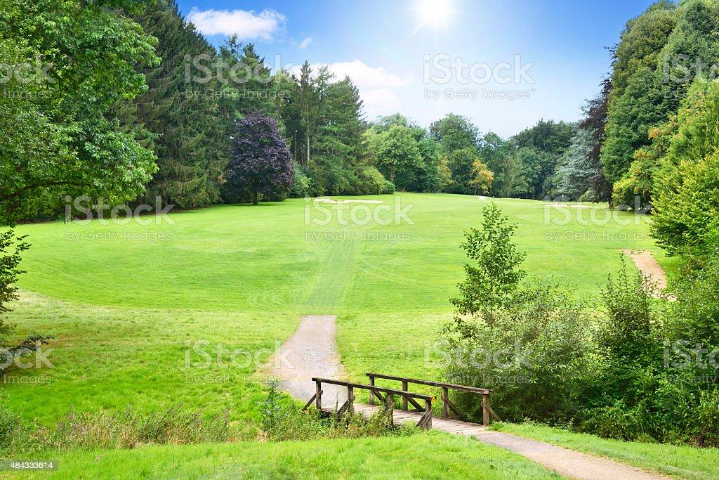 Idyllic golf course stock photo