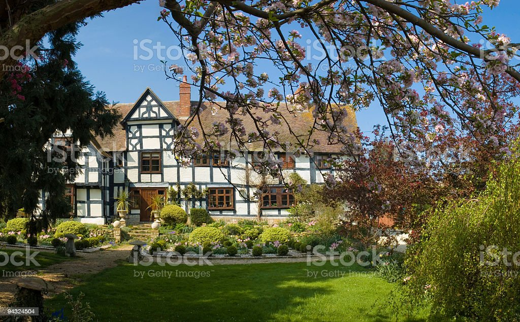 Idyllic home with blossom stock photo