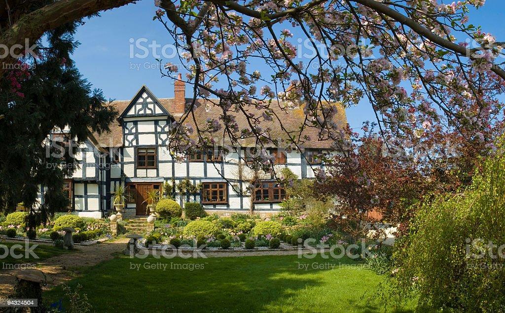 Idyllic home with blossom stock photo