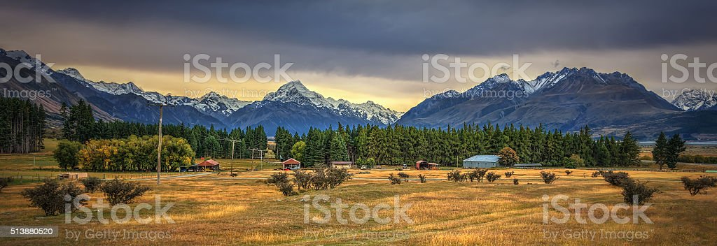 Idyllic Homestead At Mount Cook National Park stock photo