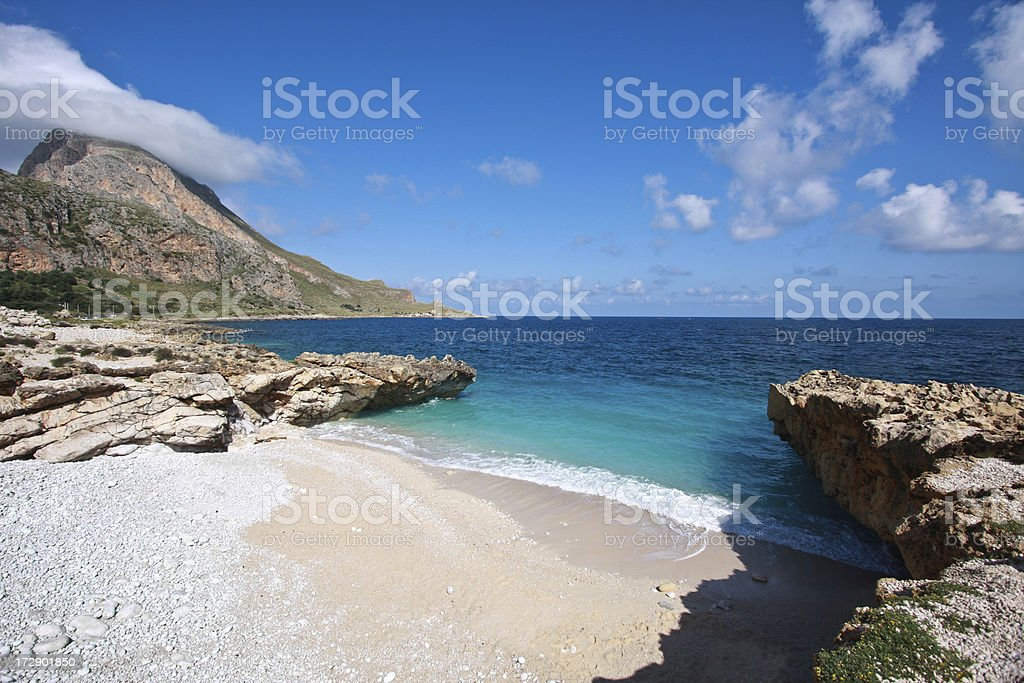 Idyllic isolated beach in Sicily royalty-free stock photo