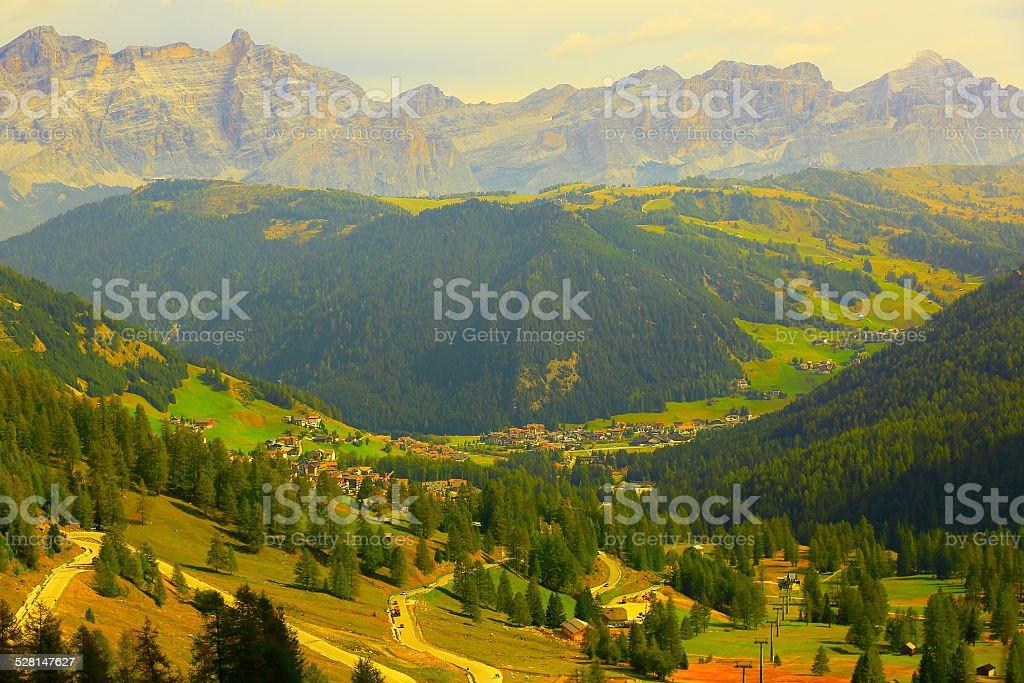 Idyllic Italian Dolomites sudtirol from Gardena Pass & Fanes group stock photo