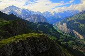 Idyllic Jungfrau massif above Lauterbrunnen valley: Swiss Alps
