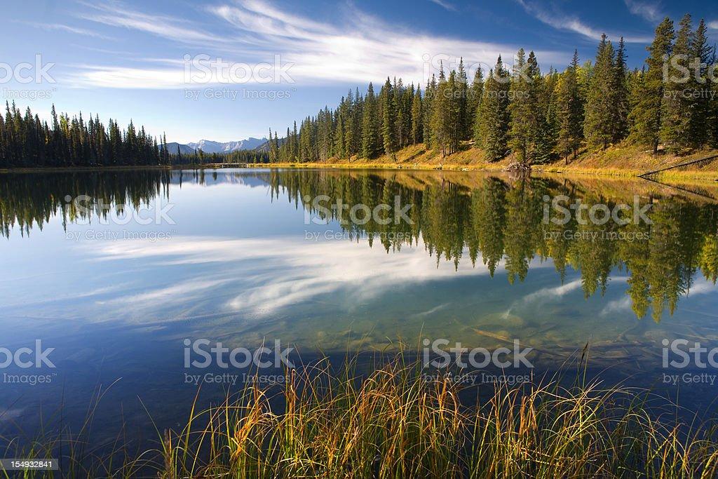 idyllic lake in alberta, canada stock photo