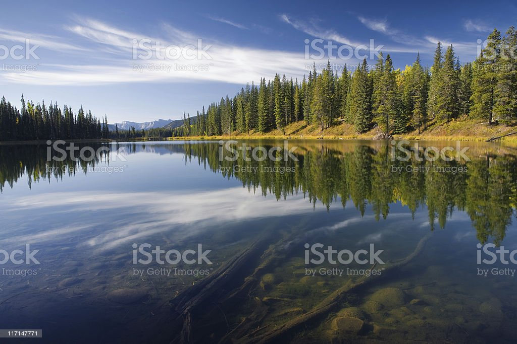 idyllic lake in alberta, canada with view on the ground stock photo