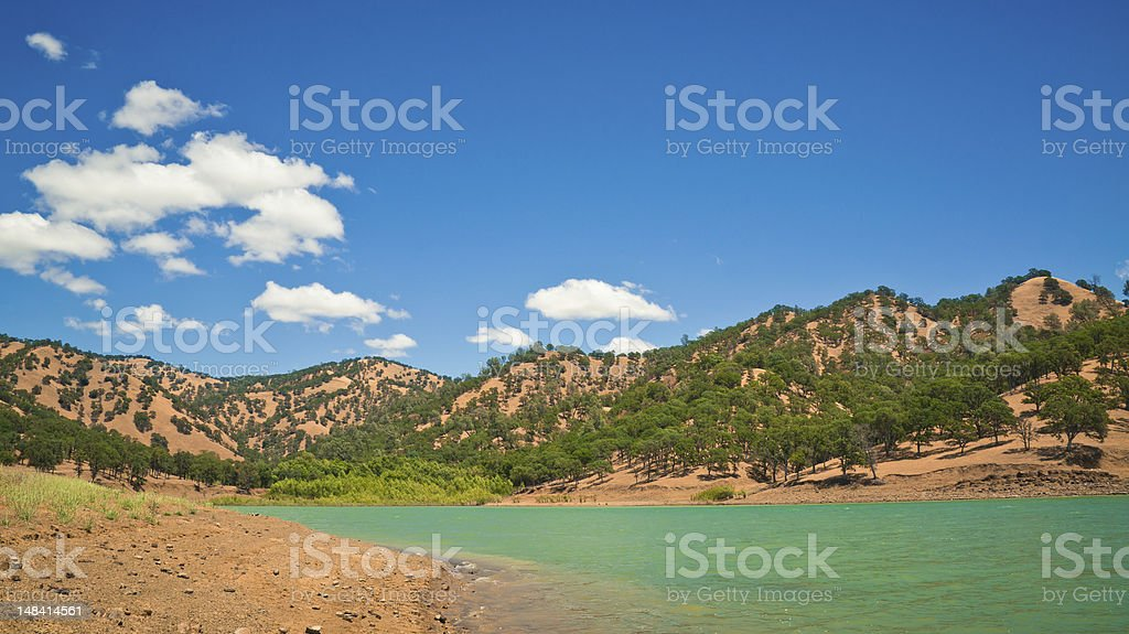 Idyllic lake nature background stock photo
