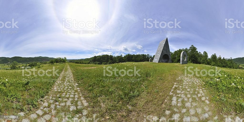 Idyllic landscape and a halo around the Sun stock photo
