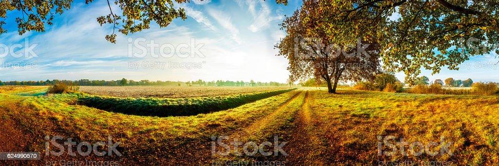 Idyllic landscape in autumn stock photo