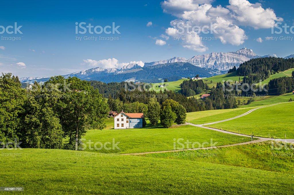 Idyllic landscape in the Alps, Appenzellerland, Switzerland stock photo