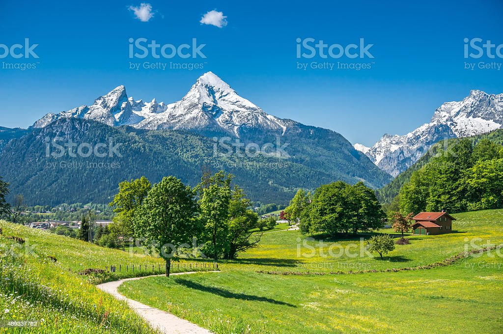 Idyllic landscape in the Alps with mountain pastures in springtime stock photo
