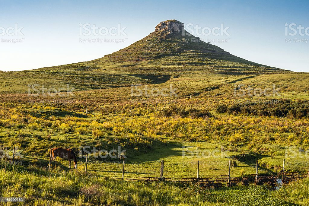 Idyllic landscape of Batovi Hill, Tacuarembo, Uruguay stock photo
