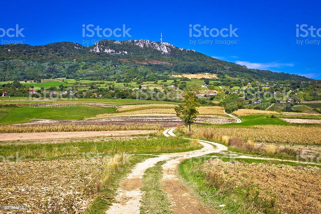 Idyllic landscape of Kalnik mountain, Croatia stock photo
