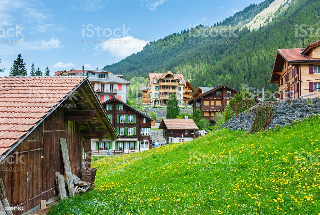 Idyllic landscape of Switzerland stock photo