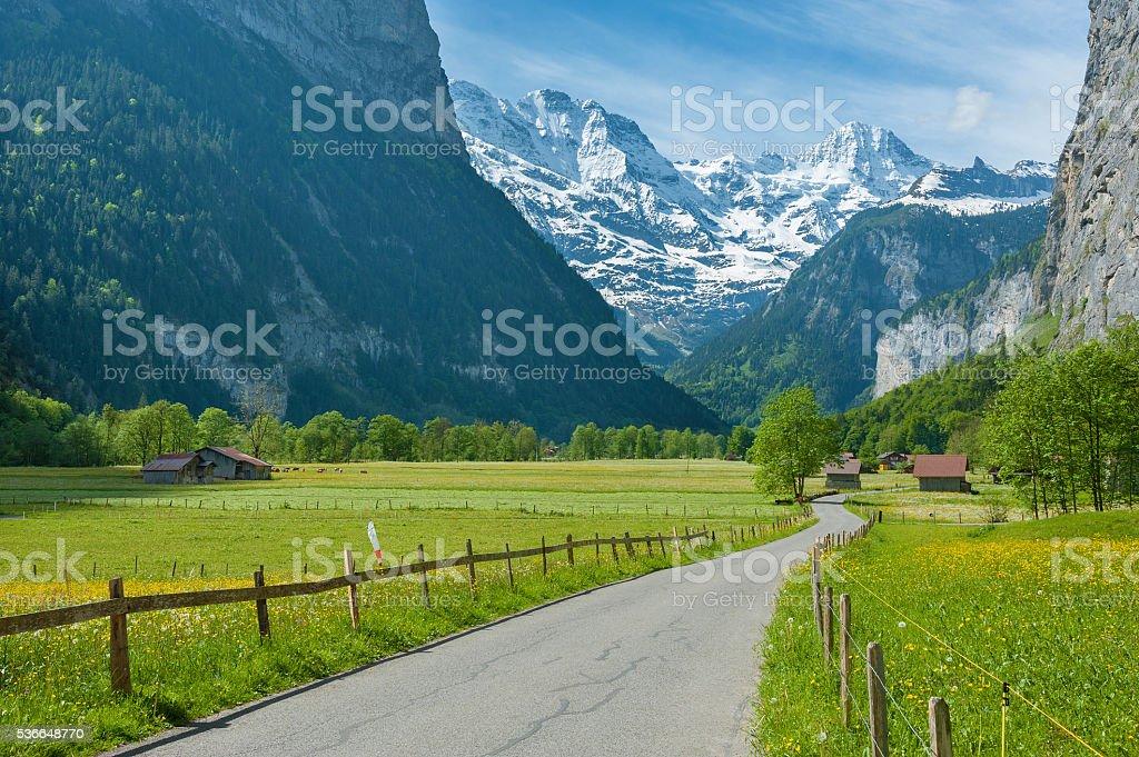 idyllic landscape of Switzerland stock photo