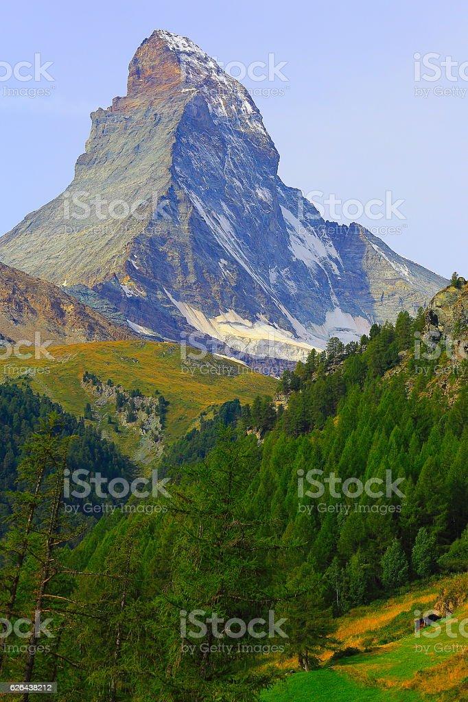 Idyllic Matterhorn alpine landscape above Green Zermatt Valley, Swiss Alps stock photo