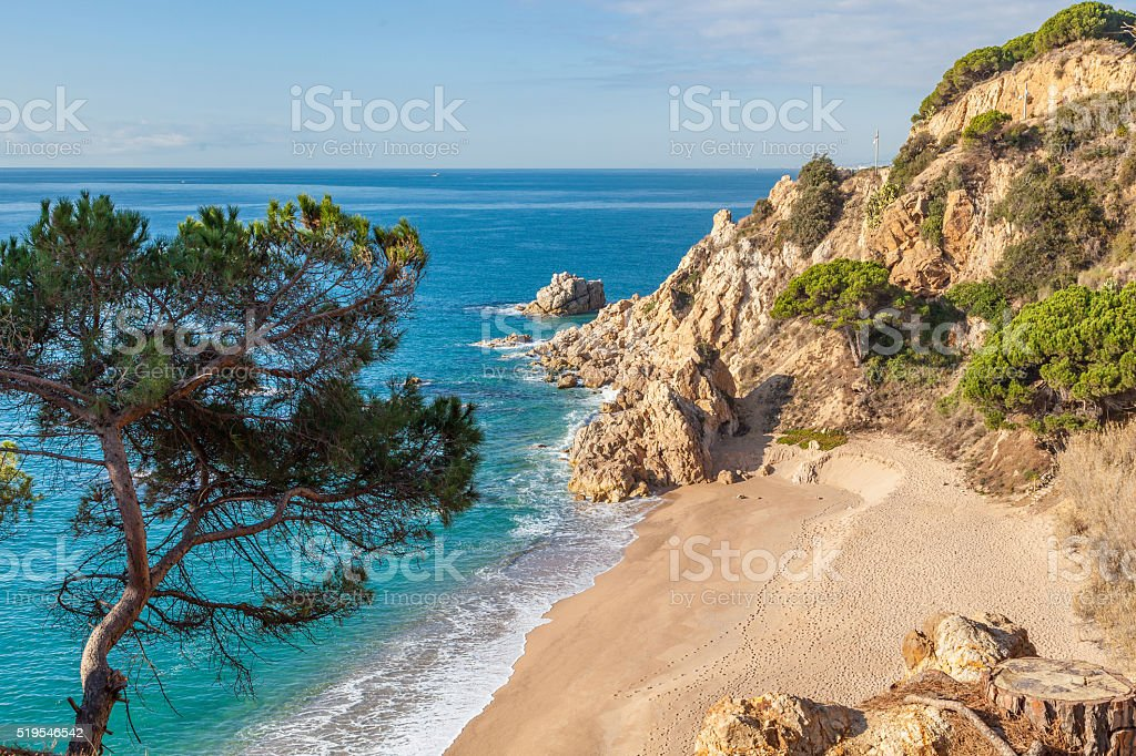 Idyllic Meditteranean beach near Calella stock photo