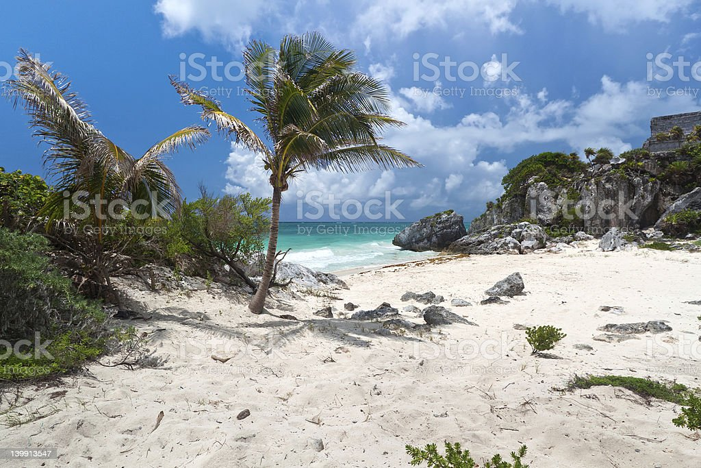 Idyllic Mexican beach stock photo
