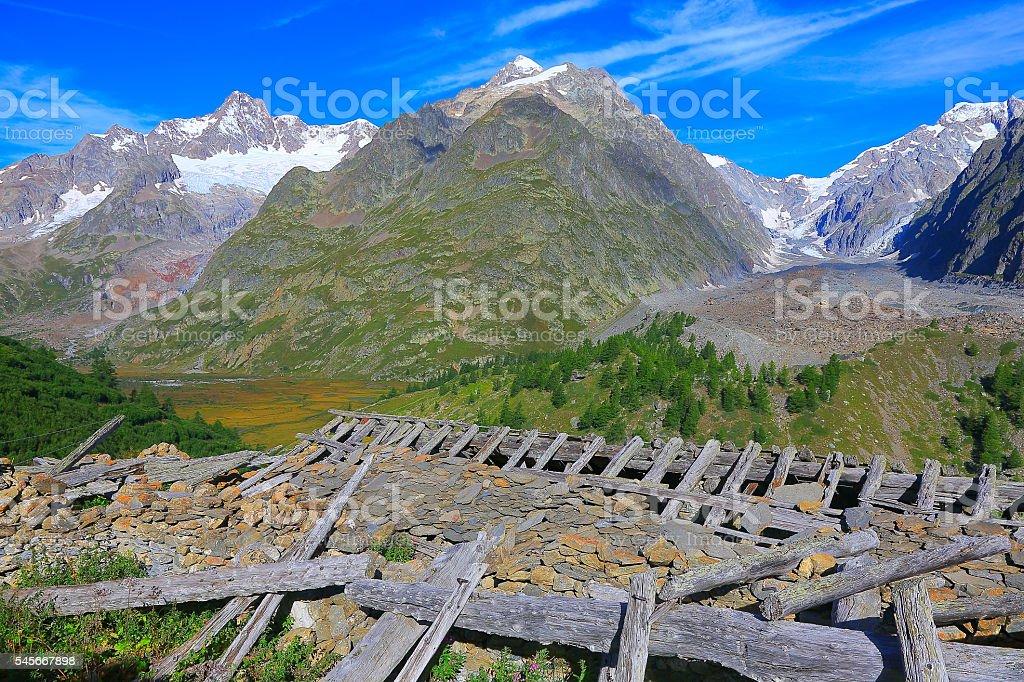 Idyllic Mont Blanc alpine countryside landscape, abandoned destroyed rifugio, Aosta stock photo