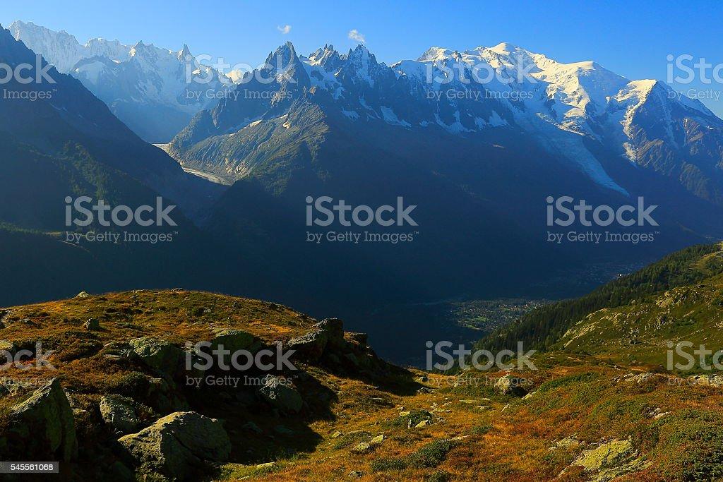 Idyllic Mont Blanc Alpine landscape sunrise above Chamonix and valley stock photo