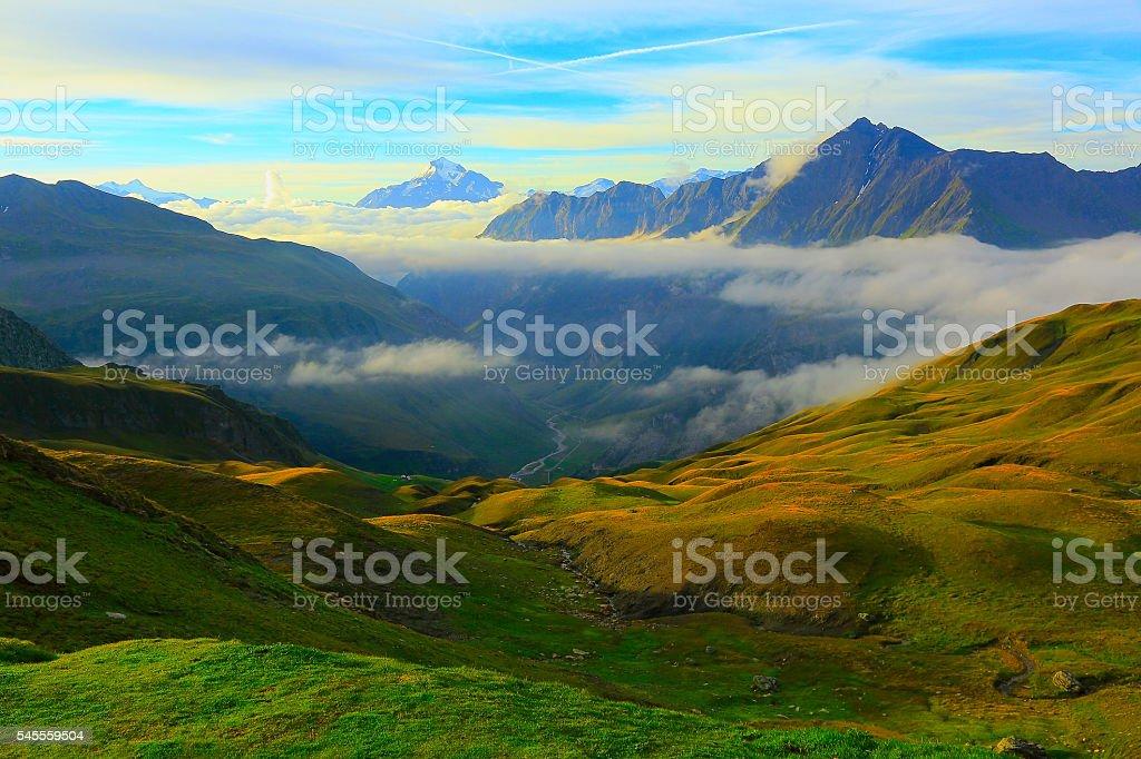 Idyllic Mont Blanc Alpine landscape sunrise above clouds and valley stock photo