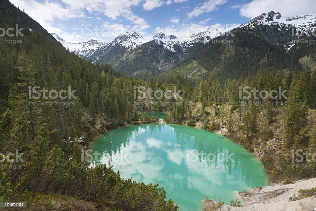 idyllic mountain lake in the allgäuer alps, tirol, austria stock photo