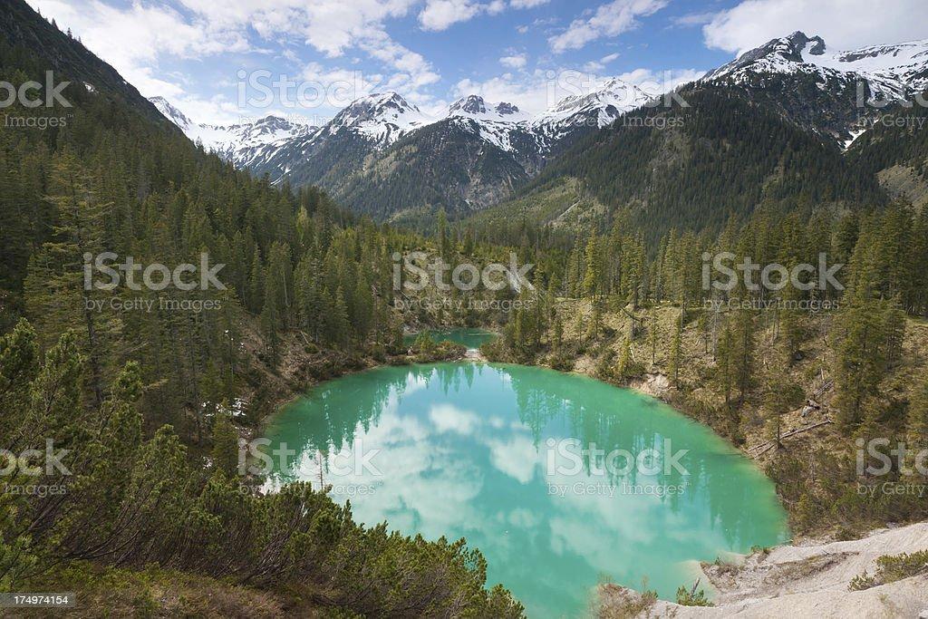idyllic mountain lake in the allgäuer alps, tirol, austria stock photo