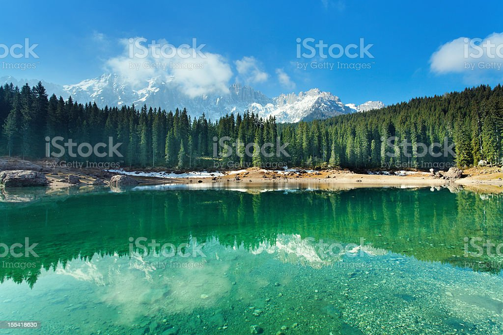 idyllic mountain lake stock photo