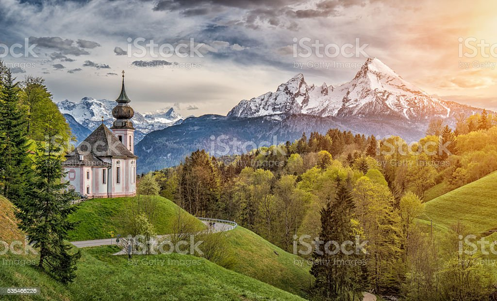 Idyllic mountain landscape in the Bavarian Alps, Berchtesgadener Land, Germany stock photo