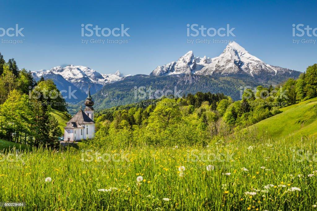 Idyllic mountain landscape in the Bavarian Alps, Berchtesgadener Land, Germany stock photo