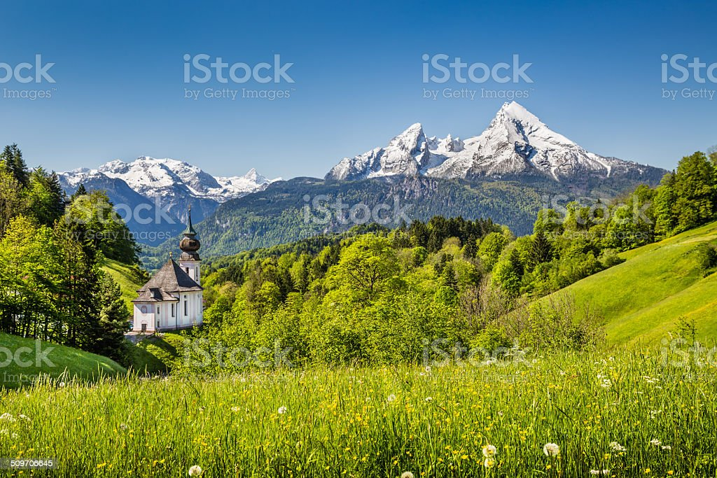Idyllic mountain landscape in the Bavarian Alps, Germany stock photo