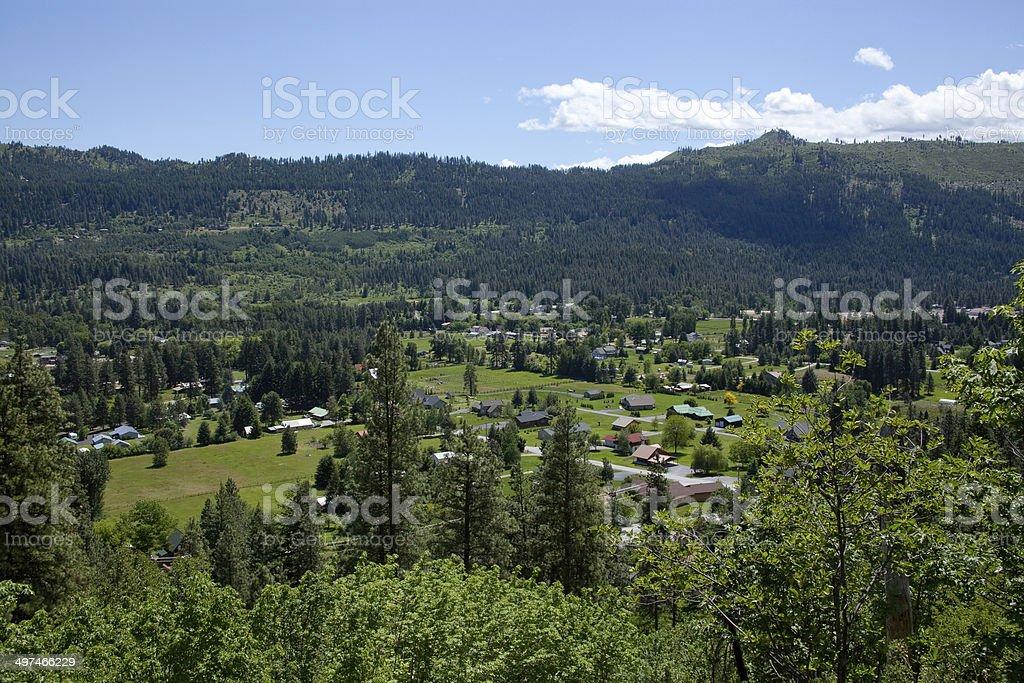 Idyllic Mountain Town stock photo