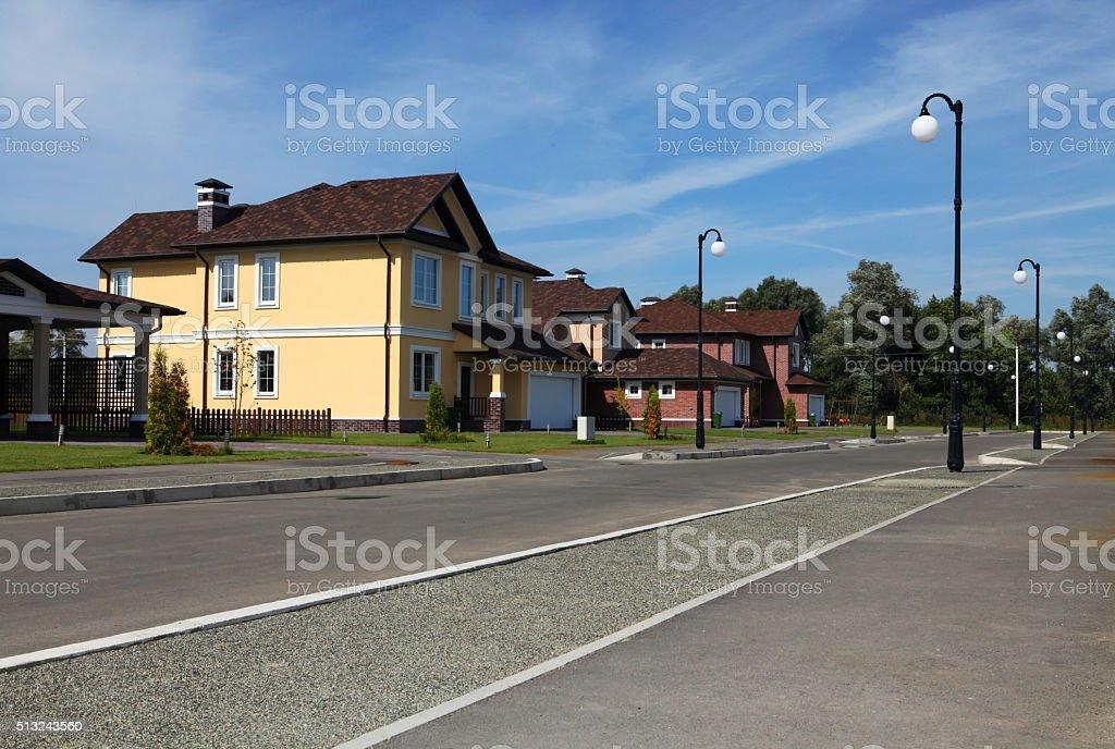 idyllic neighborhood stock photo