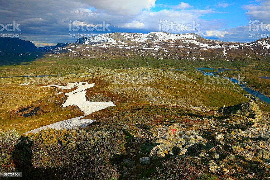 Idyllic Norwegian coutryside, Jotunheimen Mountains, Valley landscape, Norway, Scandinavia stock photo