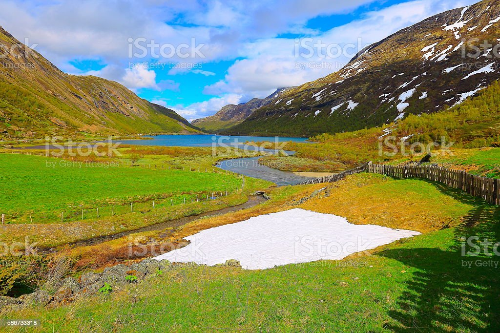 Idyllic Norwegian farm on fjord, Countryside landscape, Norway, Nordic Countries stock photo