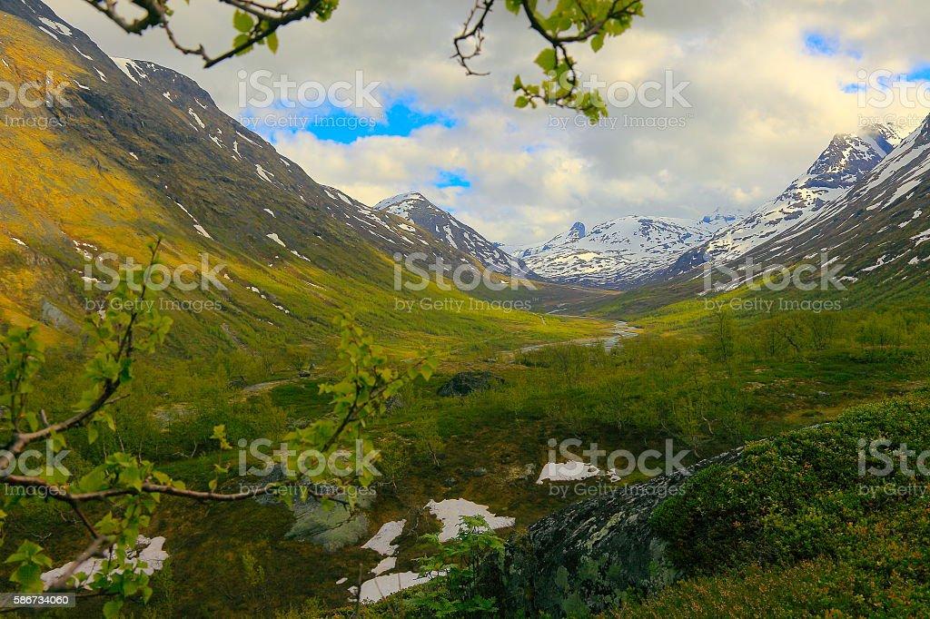 Idyllic Norwegian green valley, Countryside landscape, Jotunheimen, Norway stock photo
