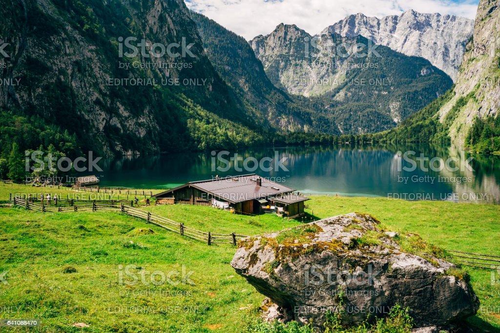 Idyllic Obersee lake, Berchtesgadener Land, Bavaria, Germany stock photo