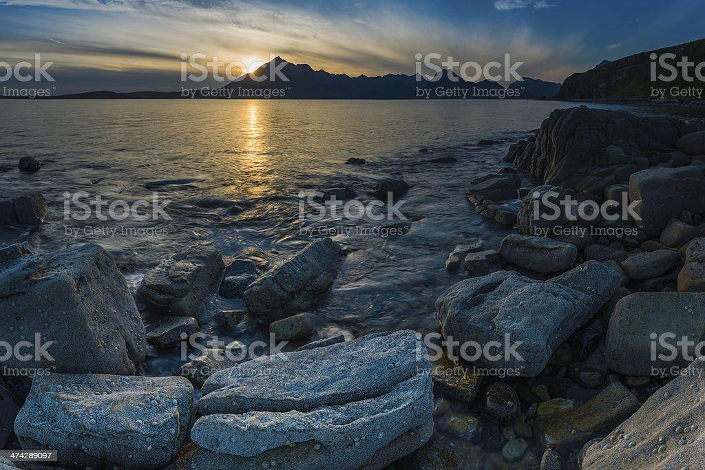 Idyllic ocean beach sunset panorama Isle of Skye Highlands Scotland stock photo