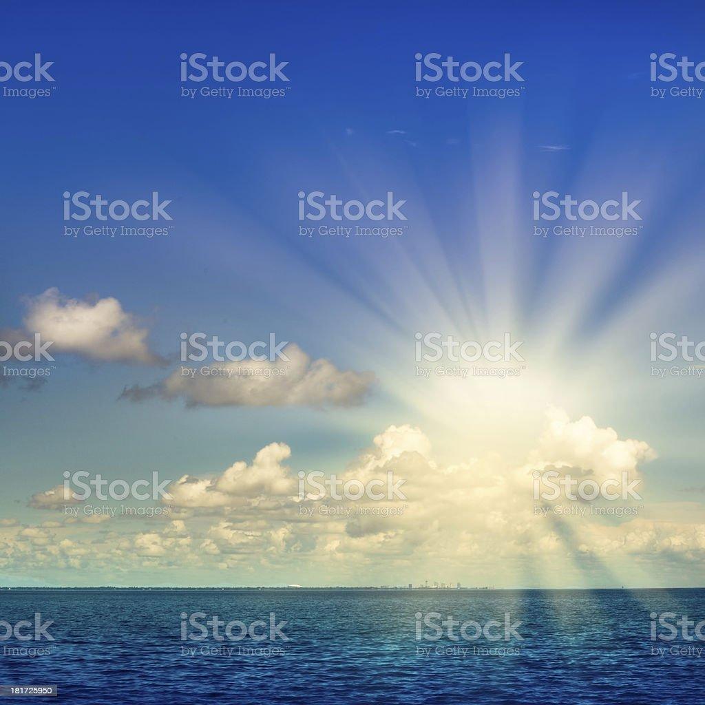 Idyllic ocean sky clouds stock photo