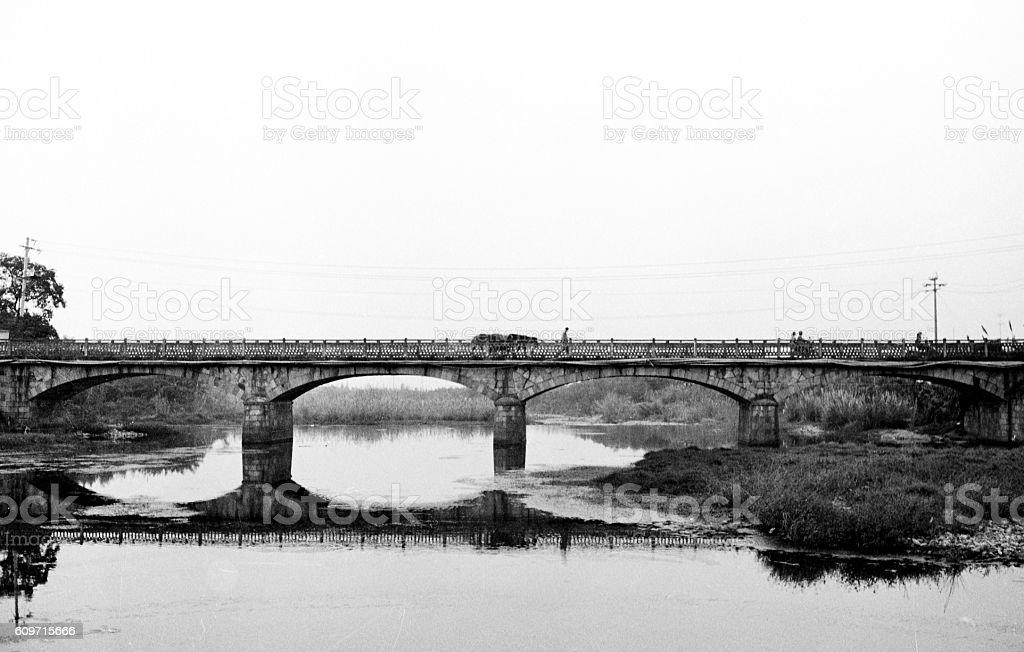Idyllic Old Bridge, Anji, Huzhou, Zhejiang stock photo