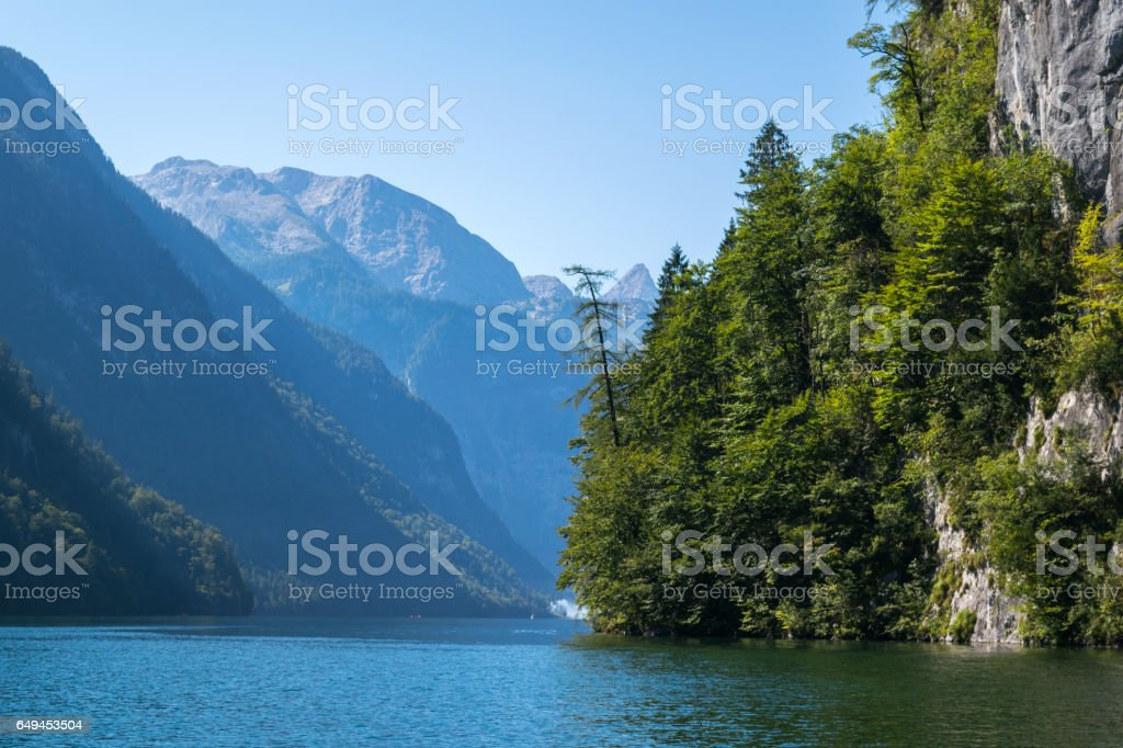 Idyllic panorama glacier lake Konigsee,Bavaria,Germany,Western Europe stock photo