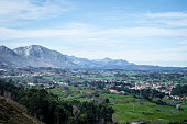 Idyllic panorama view of the city Llanes in Spain, Asturias