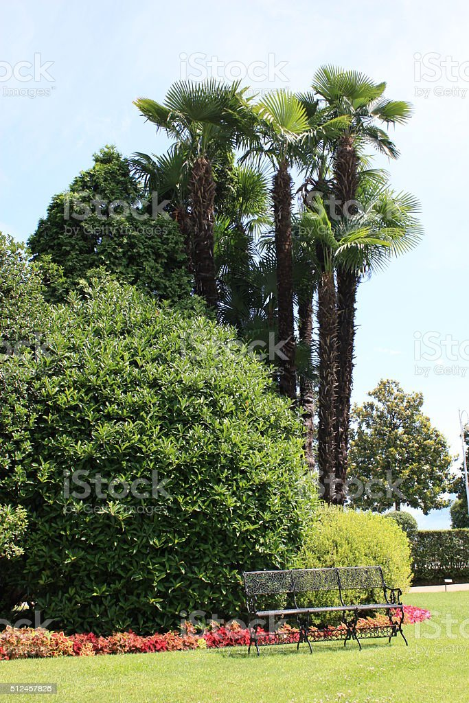 Idyllic place in the garden to relax stock photo