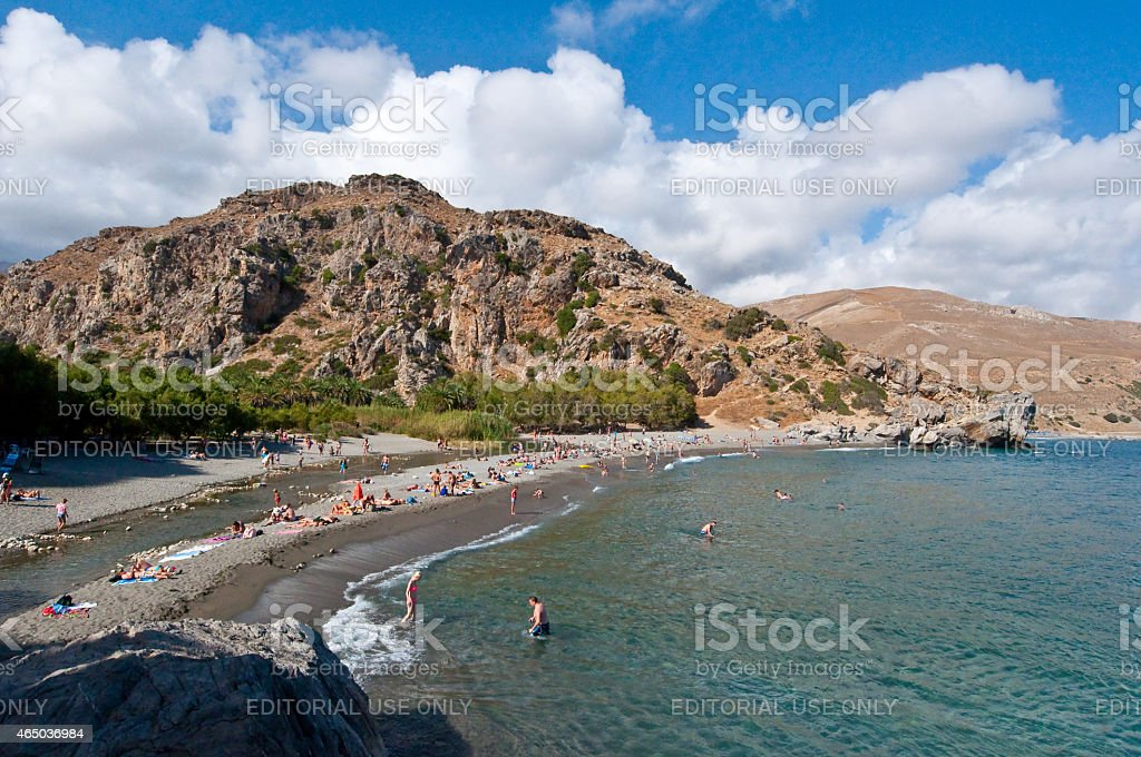 Idyllic Preveli Beach on Crete, Greece. stock photo