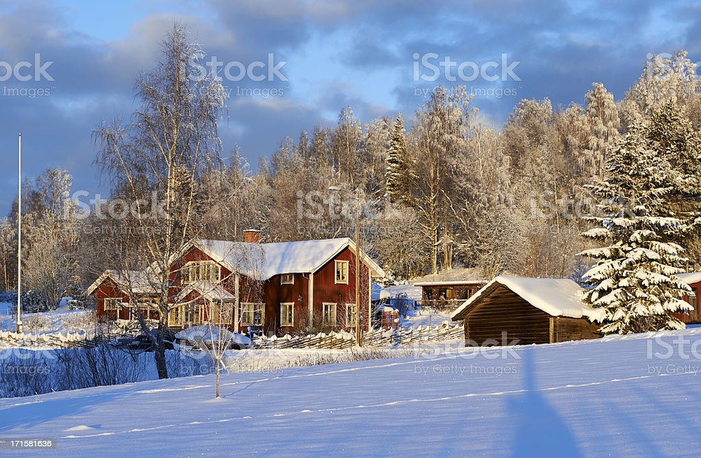 Idyllic Red Swedish House against a winter forest stock photo