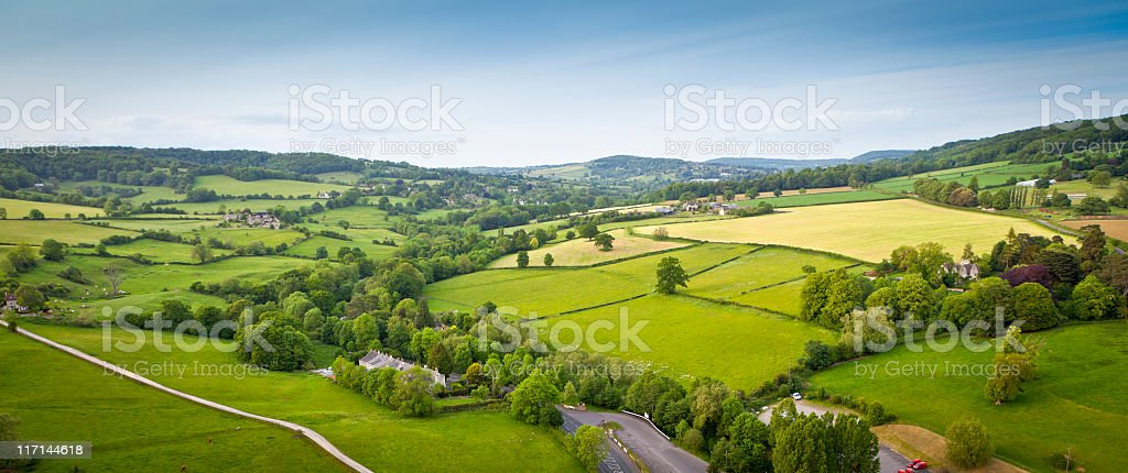 Idyllic rural, aerial view, Cotswolds UK royalty-free stock photo