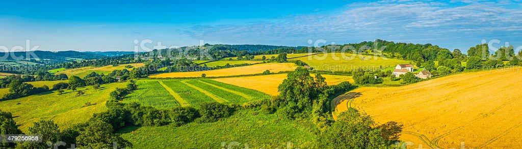 Idyllic rural landscape green summer fields golden crops aerial panorama stock photo