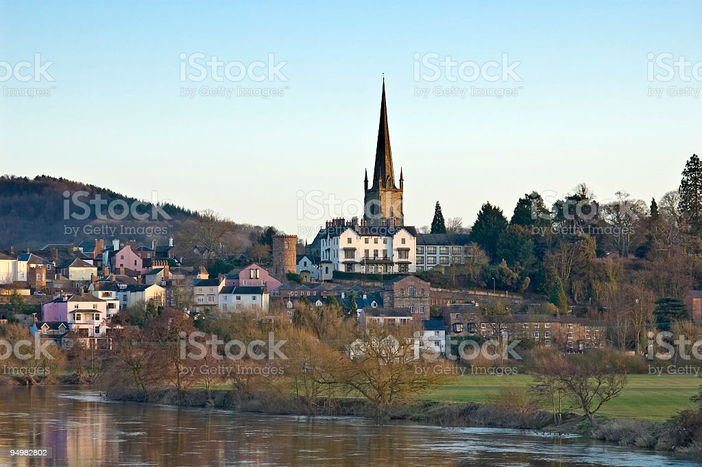 Idyllic rural riverside town stock photo