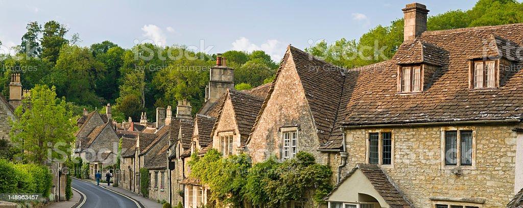 Idyllic rustic village warm sunlight royalty-free stock photo